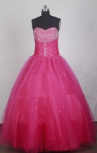 Elegant Ball Gown Strapless Floor-length Hot Pink Vintage Quinceanera Dress LZ426028
