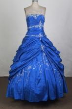 Elegant Ball Gown Strapless Floor-length Royal Blue Vintage Quinceanera Dress LHJ42703