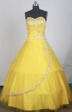 Elegant Ball Gown Sweetheart Neck Floor-length Yellow Vintage Quinceanera Dress LZ426046