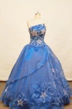 Elegant Ball gown Strapless Floor-length Organza Royal blue Quinceanera Dresses Style FA-W-122