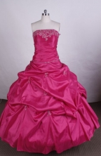 Elegant Ball gown Strapless Floor-length Quinceanera Dresses Appliques with Beading Style FA-Z-0013