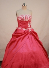 Elegant Ball gown Strapless Floor-lengtj Appliques Quinceanera Dresses FA-Z-00127