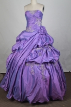 Exclusive Ball Gown Strapless Floor-length Lavender Vintage Quinceanera Dress LZ426076
