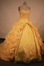 Exquisite Ball gown Strapless Sweep Train Vintage Quinceanera Dresses Style FA-W-349