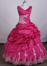 Fashionable Ball Gown V-Neck Floor-length Hot Pink Vintage Quinceanera Dresses Style LJ42428