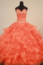 Gorgeous Ball Gown Sweetheart Floor-length Orange Organza Beading Quinceanera dress Style FA-L-254