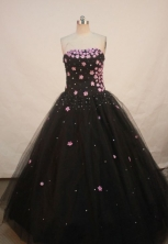 Lovely A-line Strapless Floor-length Quinceanera Dresses Appliques with Sequins Style FA-Z-0098