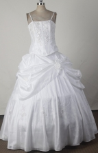 Low Price Ball Gown Straps Floor-length White Vintage Quinceanera Dress X0426019