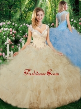 Luxurious Ball Gown Beading Quinceanera Dresses with Cap Sleeves SJQDDT330002FOR