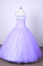 Luxurious Ball Gown Strapless FLoor-Length Lilac Beading Vintage Quinceanera Dresses Style FA-S-098