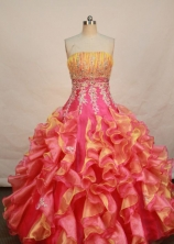 Luxurious Ball gown Strapless Floor-length Organza Quinceanera Dresses Style FA-W-153