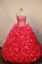 Luxurious Ball gown Strapless Floor-length Organza Red Quinceanera Dresses Style FA-W-165