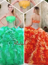 Luxurious Strapless Quinceanera Dresses with Sequins and Ruffles SJQDDT230002FOR