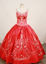 Modest Ball Gown Strap Floor-length Satin Red Quinceanera Dresses Style FA-W-0