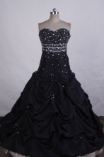 Modest Ball Gown Strapless FLoor-Length Black Beading Quinceanera Dresses Style FA-S-028