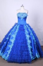 Modest Ball Gown Strapless FLoor-Length Blue Appliques and Beading Quinceanera Dresses Style FA-S-09