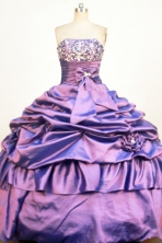 Modest Ball Gown Strapless Floor-Length Purple Beading and Appliques Quinceanera Dresses Style FA-S-390