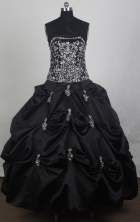 Modest Ball Gown Strapless Floor-length Black Vintage Quincenera Dresses TD260059
