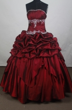 Modest Ball Gown Strapless Floor-length Burgundy Vintage Quincenera Dresses TD260060