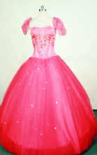 Modest Ball Gown Strapless Floor-length Red Beading Quinceanera dress Style FA-L-413