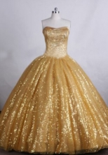 Modest Ball gown Sweetheart neck Floor-Length Gold Quinceanera Dresses Style FA-Y-22