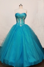 New Ball Gown Strapless Floor-length Tulle Teal Quinceanera Dresses Style FA-W-195