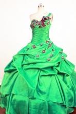 Perfect Ball Gown One Shoulder Neck Floor-Length Spring Green Beading and Appliques Quinceanera Dresses Style FA-S-377