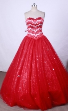 Popular Ball Gown Strapless FLoor-Length Red Beading Quinceanera Dresses Style FA-S-107