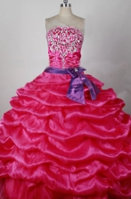 Popular Ball Gown Strapless Floor-length Hot Pink Taffeta Beading Quinceanera dress Style FA-L-215