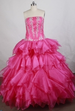 Popular Ball Gown Strapless Floor-length Hot Pink Vintage Quinceanera Dress Y042662