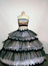 Popular Ball Gown Strapless Floor-length Organza Black and White Quinceanera Dresses Style FA-W-009