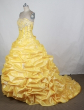 Popular Ball Gown Strapless Floor-length Yellow Vintage Quinceanera Dress Y042627