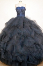 Popular Ball Gown Sweetheart Floor-length Navy Blue Organza Quinceanera dress Style FA-L-410