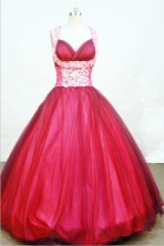 Popular Ball gown Strap Floor-length Wine Red Quinceanera Dresses Style FA-W-042