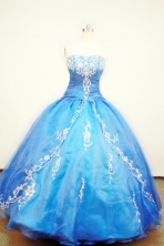 Popular Ball gown Strapless Floor-length Blue Quinceanera Dresses Style FA-W-081