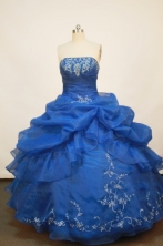 Popular Ball gown Strapless Floor-length Organza Blue Quinceanera Dresses Style FA-W-174