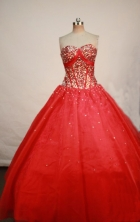 Popular Ball gown Strapless Floor-length Red Quinceanera Dresses Style FA-W-192