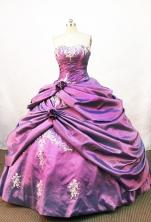 Popular Ball gown Strapless Floor-length Taffeta Purple Quinceanera Dresses Style FA-W-052
