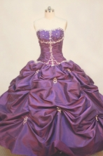 Popular Ball gown Strapless Floor-length Taffeta Purple Quinceanera Dresses Style FA-W-098