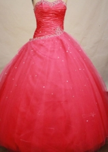 Popular Ball gown Strapless Floor-length Tulle Red Quinceanera Dresses Style FA-W-135