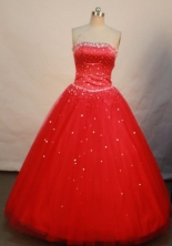 Pretty A-line Strapless Floor-length Quinceanera Dresses  Beading Style FA-Z-0086