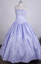 Pretty Ball Gown Strapless FLoor-Length Light Blue Beading and Appliques Vintage Quinceanera Dresses Style L042404