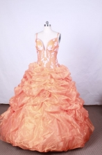 Pretty Ball Gown Straps FLoor-Length Orange Appliques Quinceanera Dresses Style FA-S-061