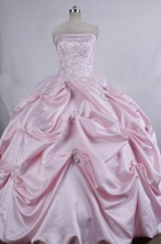 Pretty Ball gown Strapless Floor-Length Baby pink Quinceanera Dresses Style FA-Y-15
