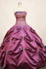 Pretty Ball gown Strapless Floor-length Taffeta Fuchsia Quinceanera Dresses Style FA-W-162