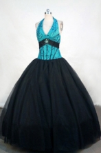 Romantic Ball Gown Halter Top Floor-length Black Quinceanera dress Style FA-L-383
