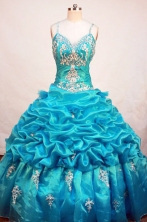 Romantic Ball Gown Strap Floor-length Aqua Blue Organza Appliques Quinceanera dress Style FA-L-233