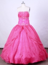 Romantic Ball Gown Strapless FLoor-Length Hot Pink Beading Quinceanera Dresses Style FA-S-074