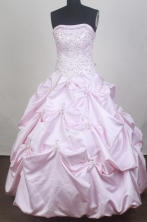 Romantic Ball Gown Strapless Floor-length Baby Pink Vintage Quinceanera Dress LZ426067