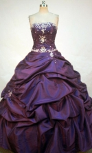 Romantic Ball Gown Strapless Floor-length Dark Purple Taffeta Appliques Quinceanera dress Style FA-L-248